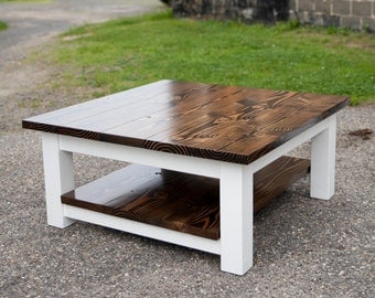 Delightful Square Coffee Table | Solid Wood Farmhouse Coffee Table | Rustic Coffee  Table | Built To