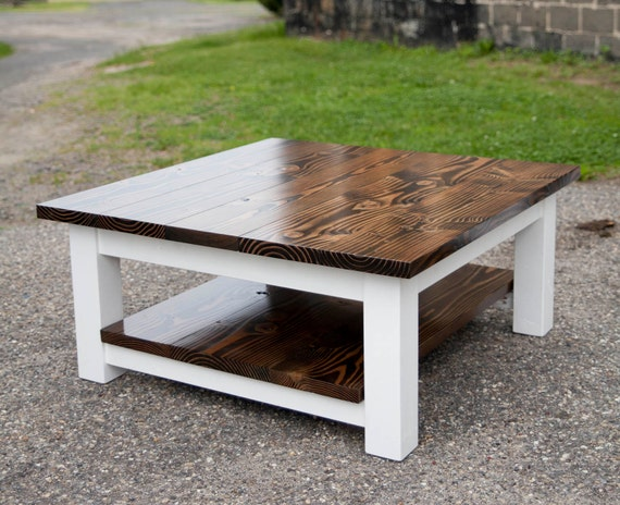 square coffee table with shelf solid wood farmhouse by emmorworks. Black Bedroom Furniture Sets. Home Design Ideas