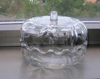Vintage CRYSTAL Candy Dish w/ Lid Made in Italy