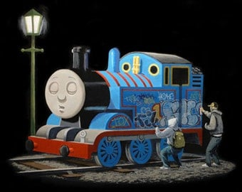 Banksy canvas Thomas the Tank Engine Street Art Graffiti Premium Print