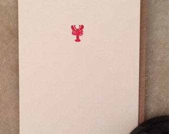 Tiny lobster letterpress cards- set of 6