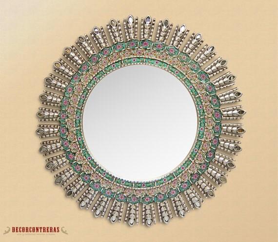 Espejo redondo de madera mohena sol celestial ii por for Espejos de madera redondos