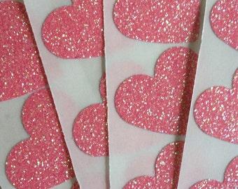 12 Glitter Heart Stickers - Pink