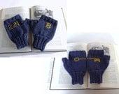 Key to 221B Baker Street,  Sherlock Holmes Fingerless Gloves in Navy Blue and Gold, Baker Street Key Gloves