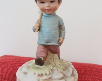 Moppets 1973 Fran Mar Little Boy with Net Music Box (Shadow of Your Smile)