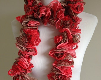 Hand Knit Ruffle Spiral Scarf in Harvest Red and Brown