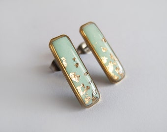 Rectangle Earrings-Mint Gold Earrings-Geometric Earrings - Hypoallergenic Surgical Steel Posts