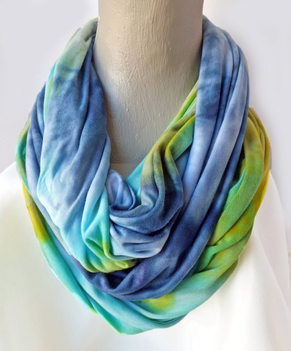 """Blue infinity Scarf  - knit scarf - rayon scarf - rayon jersey - t-shirt scarf - green, blue, yellow, mustard - hand dyed - 16"""" x 80"""""""
