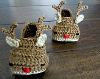 Baby Reindeer Booties - Crochet Shoes - Newborn 3 6 9 12 months - Rudolph slippers - crochet slippers