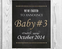 Gold font Baby #3, 4, 5 + we're excited to announce pregnancy chalkboard sign - printable file second or third pregnancy