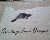 Four PDX & Oregon Recycled Handmade Paper Postcards