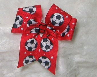 Soccer Bow - Small 4 Inch Red Bow with Black and White Soccer Balls - A great Team Bow