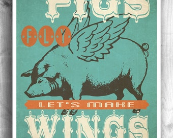 Art For Kitchen Decor, Pig Print, Flying Pig Art, Kitchen Art, Wall Decor, Wall Sign, Cooking Print, When Pigs Fly, Barbeque Art Print