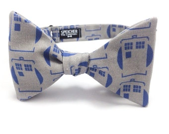 Mod TARDIS on Grey Doctor Who Bow Tie - bowtie, bowties, bow ties, geeky, geek, geeky chic, dr who, the doctor, nerd, fun, cool