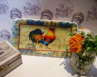 Country Rooster Tray for Dollhouse 1:12 scale