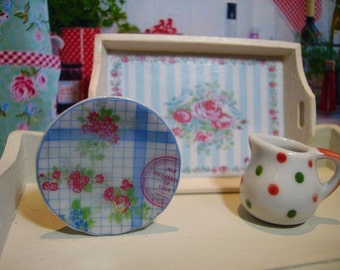 Greengate Style Miniature Plate for Dollhouse 1:12 scale