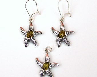 sterling silver set of earrings and pendant with natural  Baltic amber