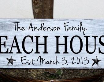 "Primitive - Custom family name Beach house sign with established date -  7.25"" x 22"""