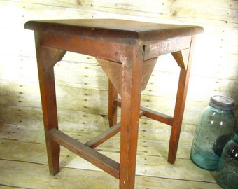 Vintage wood side table, wood stool, primitive wood furniture, shabby chic decor, rustic,solid wood table,OOAK hand made table,