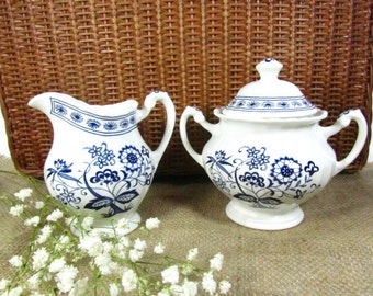 Blue onion,Sugar bowl,creamer,Blue and White Sugar and Creamer Set, J & G Meakin, Creamer, Sugar Bowl, 1960s