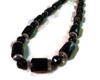 1930'-40's Czechoslovakia black and clear crystal necklace on knotted silk