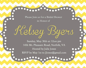 Yellow Chevron Bridal Shower Invitation