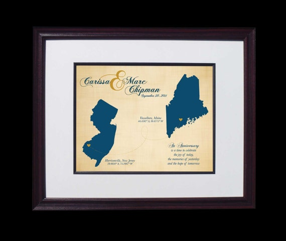 Great Wedding Gifts For 2nd Marriages : Second Wedding Anniversary Gift Cotton Anniversary wedding map - 2 ...