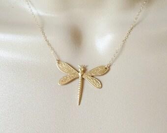 Gold Dragonfly Necklace - Raw Brass Dragonfly Necklace - Insect Necklace - Bug Necklace - Christmas Gifts - Animal Jewelry