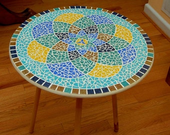 Blue, Gold, Teal Mandala Glass Mosaic Table Top