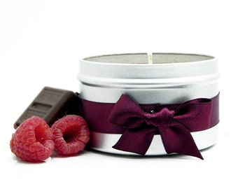 Raspberries & Chocolate Romantic Scented Candle Tin 8oz