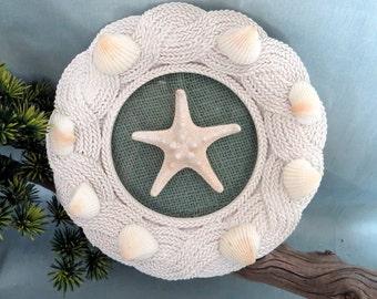Beach Decor_framed white starfish decor_beach housewares_beach wedding gift