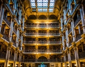 The interior of the Peabody Library in Mount Vernon, Baltimore, Maryland.  - Urban Photography Fine Art Print or Wrapped Canvas