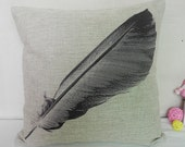 Big Feather Cushion Case/Soft Cotton Linen Pillow Case/Neutral Background Pillow Case/Decorative Pillow