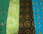 FREE SHIPPING 4 Pcs Mix Fabric Bundle Used Sari Scrap Recycled Craft Fabric Indian Vintage Fat Quarter Sale SC43