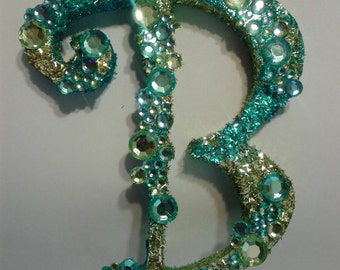 Custom monogram Letter B cake topper in Lime green & turquoise,handpainted with glitter, , princess and the frog etc
