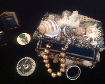 Fabulous Wooden box covered in all sorts of Exotic Shells