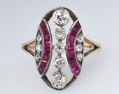 Reserved for M until 9/26-Beautiful 1.33ct t.w. Rare Art Nouveau Old European Cut Diamond & Ruby Ring 14k/SS