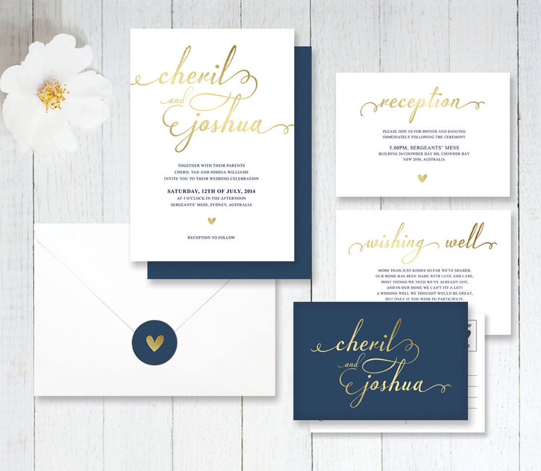 navy and gold wedding invitations - 28 images - simple navy and gold ...