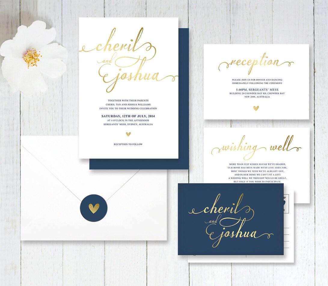 Simple Wedding Invitations: Simple Navy And Gold Wedding Invitation By LittleBridgeDesign