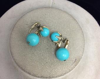 Vintage Blue Plastic Dangle Earrings