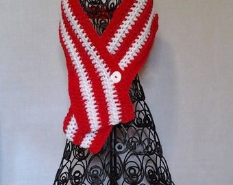 College Football Red and White Cowl Neckwarmer