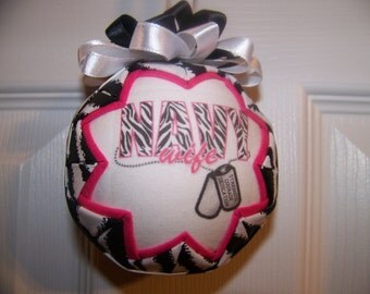 U.S. Navy Wife Quilted Ornament/Zebra print