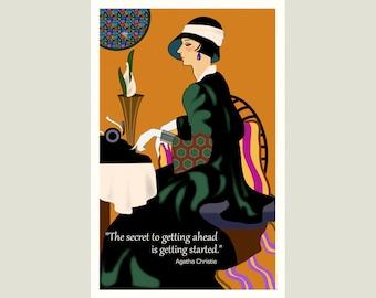 Retro Motivational Agatha Christie quote for writers: 17 x 11 original poster print