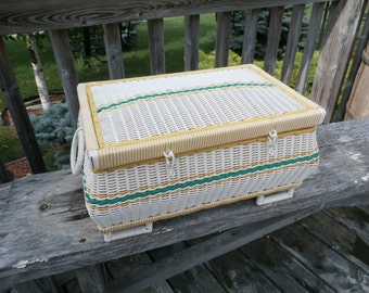 Large, Vintage, Sewing Basket, Bacon Basketware