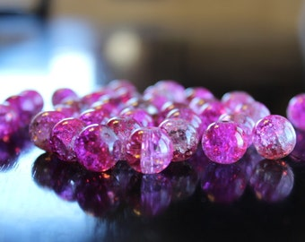 30 crackle glass 12mm hot pink/light coffee beads