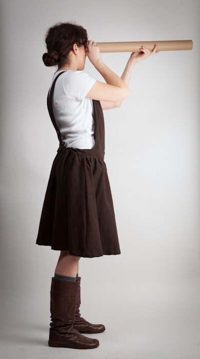 skirt overalls - moleskin / cotton - brown - handmade - maxi pocket