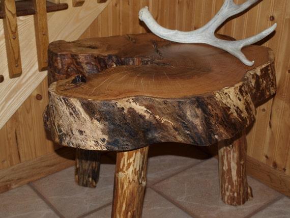 Red Oak Log Slice Table Handmade Rustic Hardwood Log Table Log Coffee Table