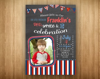 Red White and Two Chalkboard 4th of July PRINTABLE Birthday Party Photo Invitation