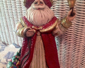 Gorgeous, Ooak, Hand Painted, Ceramic Father Christmas
