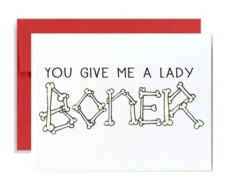 Happy valentines day card - lady boner red naughty funny anniversary greeting card red